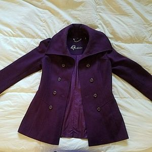 Purple/Plum Pea Coat by Guess